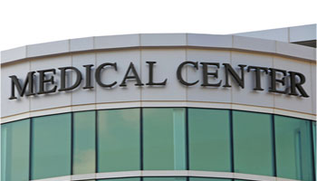 Building with medical center sign